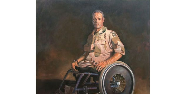 """This 60""""x 60"""" painting by U.S. Navy veteran Skip Rohde is titled """"Warrior."""""""