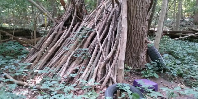 A homeless veteran's campsite found during a blitz in Jackson, MI.