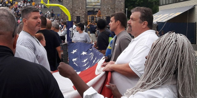 Veterans hosted by Veterans Matter present the colors as a thank you at a University of Toledo football game.