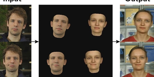 """A new computer program analyzes the appearance of someone in one video (the """"input"""") and transfers that person's facial expression, head pose and line of sight onto a person in another video (the """"output"""")."""