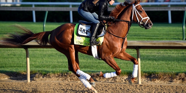 Exercise rider Adelle Bellinger works out Kentucky Derby hopeful Vino Rosso at Churchill Downs.