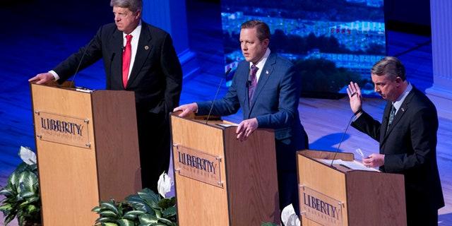 April 13, 2017: Republican gubernatorial candidate Ed Gillespie, right, Corey Stewart, center, and state Sen. Frank Wagner at a debate at Liberty University, Lynchburg, Va. (AP)