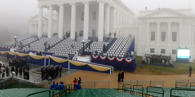 January 11, 2014: Heavy fog hangs over the State Capitol ahead of the swearing-in ceremony of Terry McAuliffe as Virginia's governor in Richmond, Virginia.