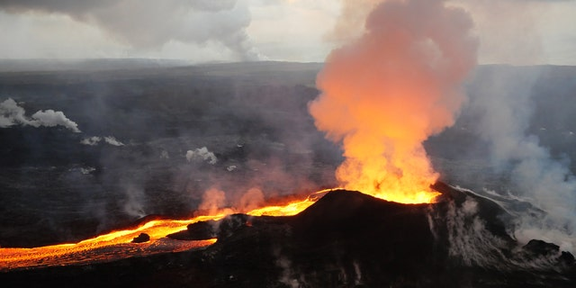 Fissure 8 and lava channel from Hawaii's Kilauea Volcano can be seen in this July 14, 2018 photo.