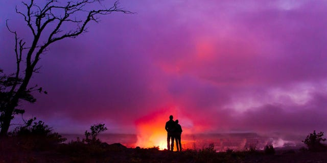 Couple overlook Halemaumau Crater
