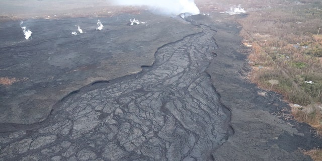 Lava in the fissure 8 channel is now crusted over as of Tuesday.