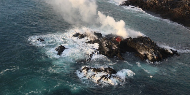 A tiny new island of lava formed off Hawaii's Big Island on the northernmost part of the ocean entry of lava from Fissure 8.