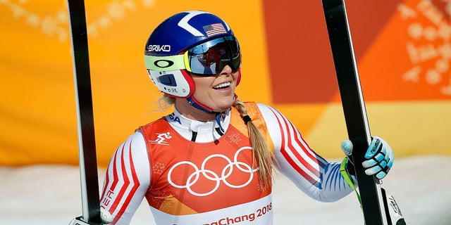 Lindsey Vonn smiles in the finish area of the women's combined downhill at the 2018 Winter Olympics in Jeongseon, South Korea, Thursday, Feb. 22, 2018.