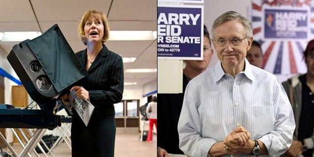 Shown here are Nevada Republican Senate nominee Sharron Angle, left, and Senate Majority Leader Harry Reid. (AP Photos)