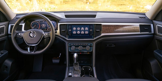 The Atlas has VW's latest infotainment technology and a few planks of faux wood trim.