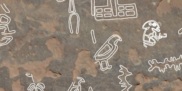 The hieroglyphic symbol at top, showing what looks like a rod with many arms beside a building, is the name for a queen called Neith-Hotep.
