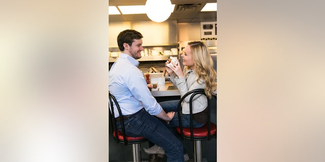 """My only stipulation was that we had to have some engagement photos at Waffle House,"" the bride said."