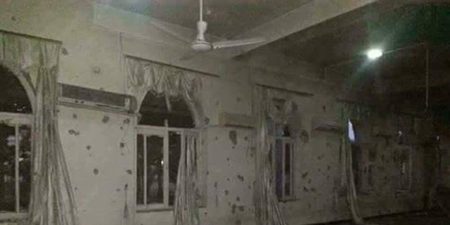Bullet-ridden walls of one of the rooms Taliban attacked.