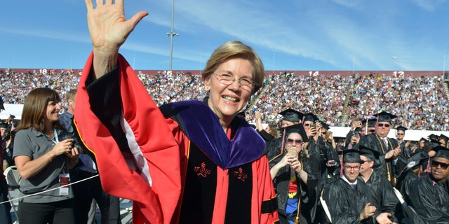 U.S. Sen. Elizabeth Warren is seen at the commencement ceremony at the University of Massachusetts, in Amherst, May 2017.