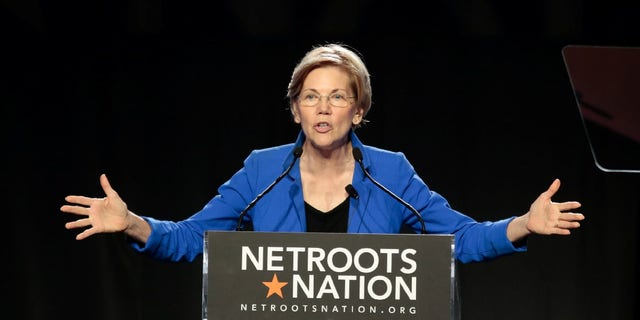 Senator Elizabeth Warren (D-MA) addresses the audience at the morning plenary session at the Netroots Nation conference for political progressives in Atlanta, Georgia, U.S. August 12, 2017.