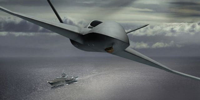 Rendering of the MQ-25 drone. (Credit: General Atomics)