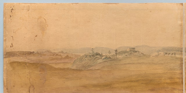 Close-up of tent detail in Verplancks Point watercolor (Courtesy of the Museum of the American Revolution)