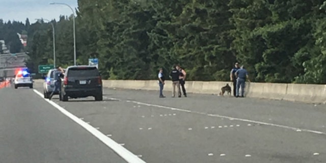 Authorities investigate after four vehicles were struck by gunfire on State Route 509 near Seattle-Tacoma International Airport on Wednesday.
