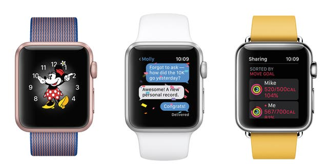 Apple Watches showing the device's forthcoming operating system, watchOS 3.