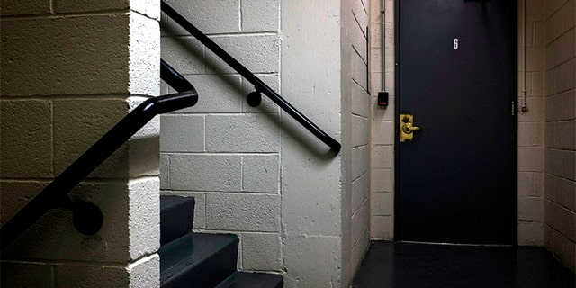 The infamous jimmied stairwell lock leading to the Watergate DNC Offices, at the center of a foiled burglary that led to the resignation of President Nixon