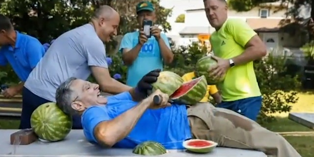 Ashrita Furman pitched the idea to Guinness officials after earning a different world record for slicing the most watermelons on a friend's stomach.