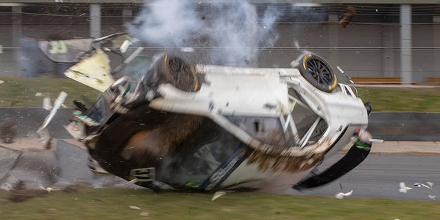 As it hit the grass it got flipped upside down and into a barrel roll at 100 mph.