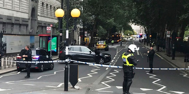 Police cordon off area as they investigate the car ramming incident.