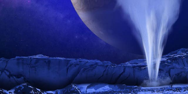 An artist's illustration of plumes on the surface of Jupiter's moon Europa. The James Webb Space Telescope could help scientists study these plumes in more detail.