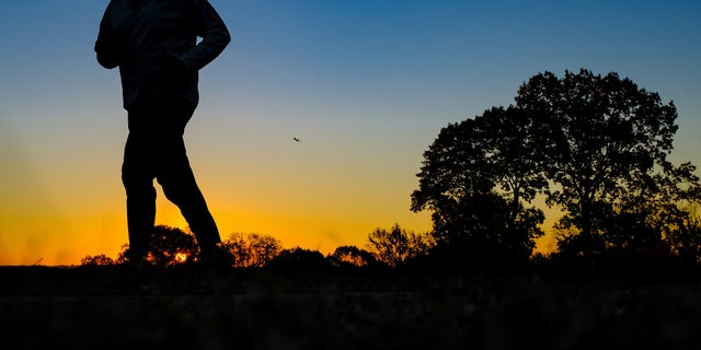 Nov. 22, 2016: In this file photo, a runner is silhouetted against the sunrise on his early morning workout near Arlington National Cemetery.