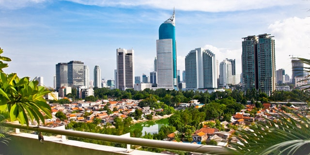 Panoramic cityscape of Indonesia capital city Jakarta at suny day