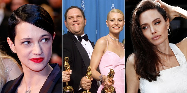 Asia Argento (left) has accused Weisntein of raping her, while Gwyneth Paltrow and Angelina Jolie have accused him of making sexual advances when they were up-and-coming young actresses.