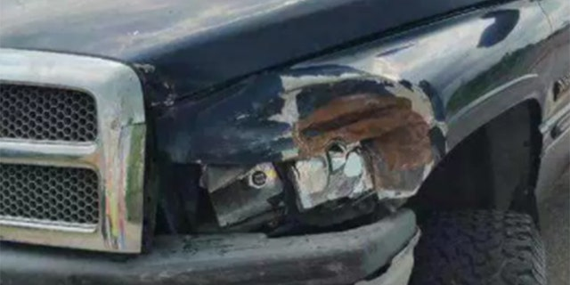 Recent damage to Welker's truck.