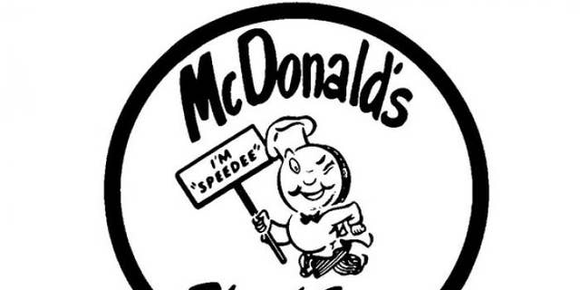 McDonald's first logo featured Speedee, a jaunty, pudgy, winking little chef with a hamburger for a head and a chef's hat.