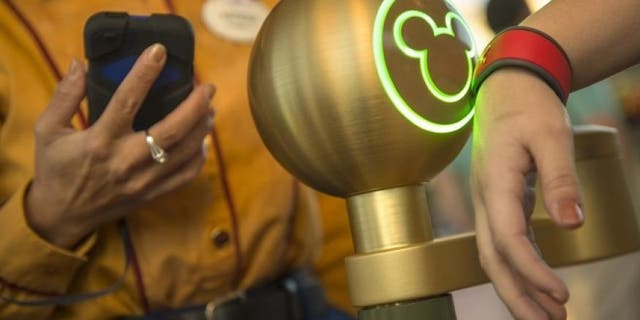 Disney introduced MagicBands in 2014. Here, a Walt Disney World Resort guest uses the bracelet to enter the Magic Kingdom in Lake Buena Vista, Fla.