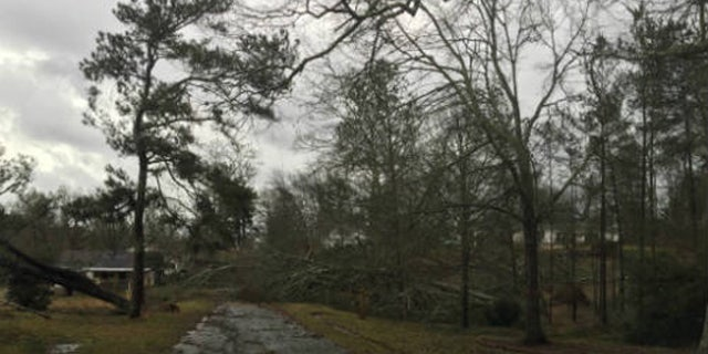 Damage in Wesson, Miss. on Monday, Feb. 15, 2016, after severe storms moved through.
