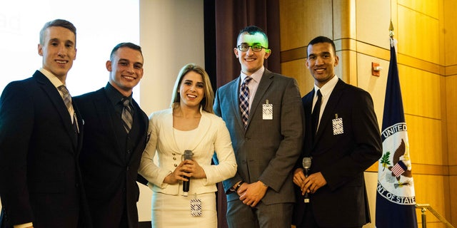 West Point cadets, (l. to r.), Austin Montgomery, Brittany Scofield, C.J. Drew, Jordan Isham and David Weinmann present their project at the P2P: Challenging Extremism initiative.