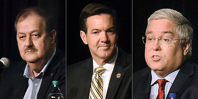 President Trump has urged voters to vote for either Rep. Evan Jenkins (middle) or Attorney General Patrick Morrisey (right.) Don Blankenship (left) insists he still has a chance to win the Republican primary despite Trump endorsing his opponents.