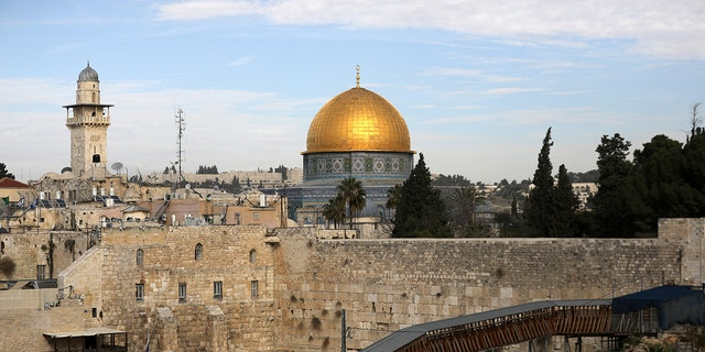 General view of Jerusalem's Old City shows the Western Wall.