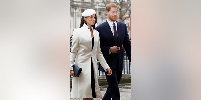 Markle and Prince Harry arrive at Westminster Abbey for Markle's first Commonwealth ceremony.
