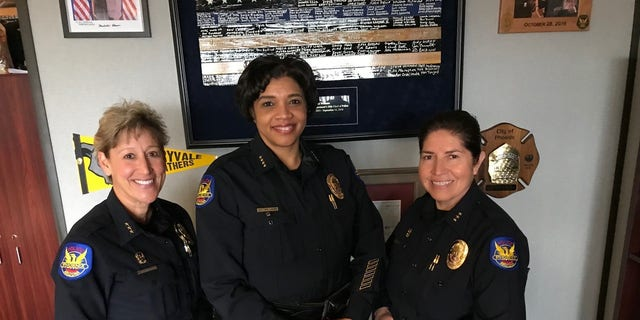 """""""A major city finally got a female police chief-this is huge,"""" Assistant Chief Sandra Renteria said. """"It took a while to get there."""" (L-R) Assistant Chief Mary Roberts, Chief Jeri Williams, Assistant Chief Renteria"""