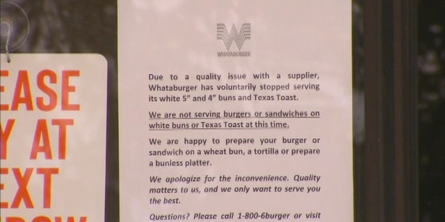 Whataburger restaurants, like this one in the Dallas-Fort Worth area, posted signs notifying customers of the bun issue.