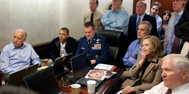 May 1, 2011: Secretary of State Hillary Rodham Clinton, President Barack Obama and Vice President Joe Biden, along with members of the National Security Team, receive an update on the mission against Usama bin Laden in the White House Situation Room.