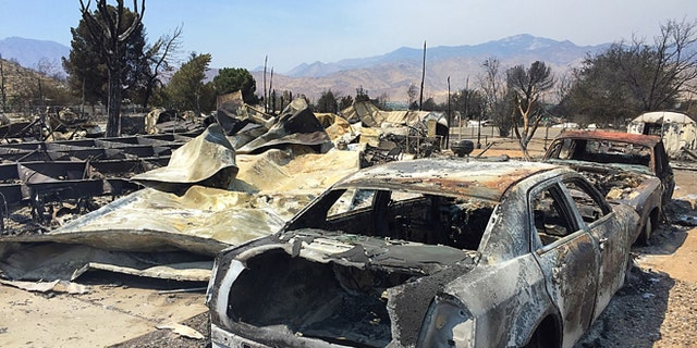 June 26, 2016: The remains of homes devastated by a wildfire in Kern County, Calif.