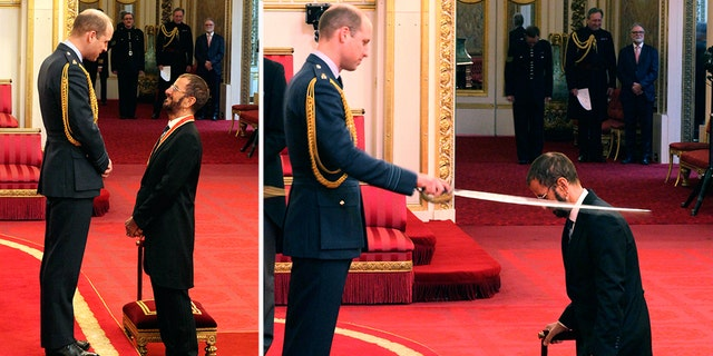 Ringo Starr was made a knight by Prince William at Buckingham Palace during an Investiture ceremony in London on Tuesday.