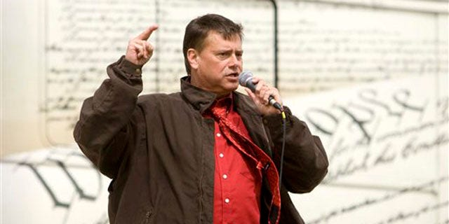 In this March 30 file photo, Tea Party Express leader Mark Williams addresses the crowd during a stop at the Utah State Capitol in Salt Lake City. (AP Photo)