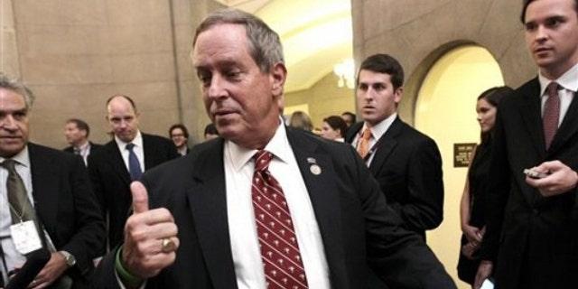 Rep. Joe Wilson arrives at the Capitol office of House Speaker John Boehner in Washington July 28.