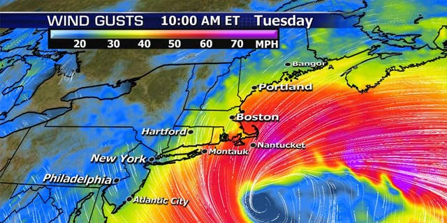 The expected winds from a nor'easter impacting the Northeast on Tuesday.