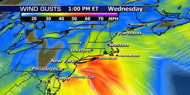 The expected winds from a nor'easter on Wednesday.
