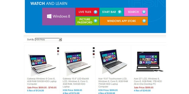 Windows 8 PCs hit the web two weeks early, seen here in a screenshot of the Home Shopping Network's website.
