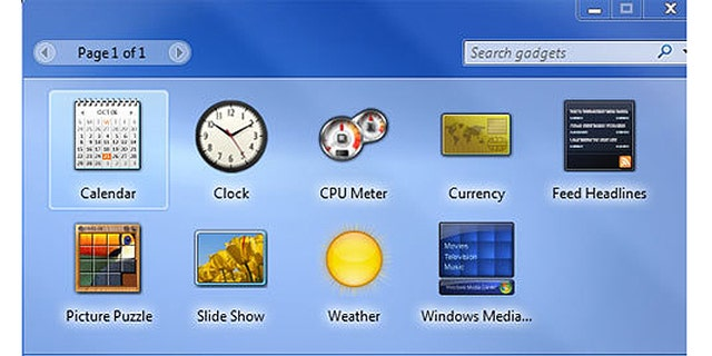 The default Gadgets in Windows 7 Professional.